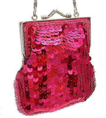 Small Hot Pink Sequin Glass Bead Purse Dance Bag Sasha