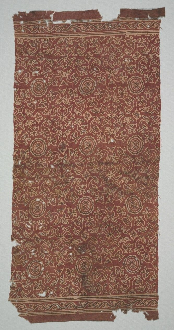 """India, fragment with """"Hamsa"""" or Geese Circling Lotus Medallion, 1400s, block printed with resist paste, alum and iron mordants then applied, then dyed in alizarin; cotton, Overall: 90.20 x 46.50 cm"""
