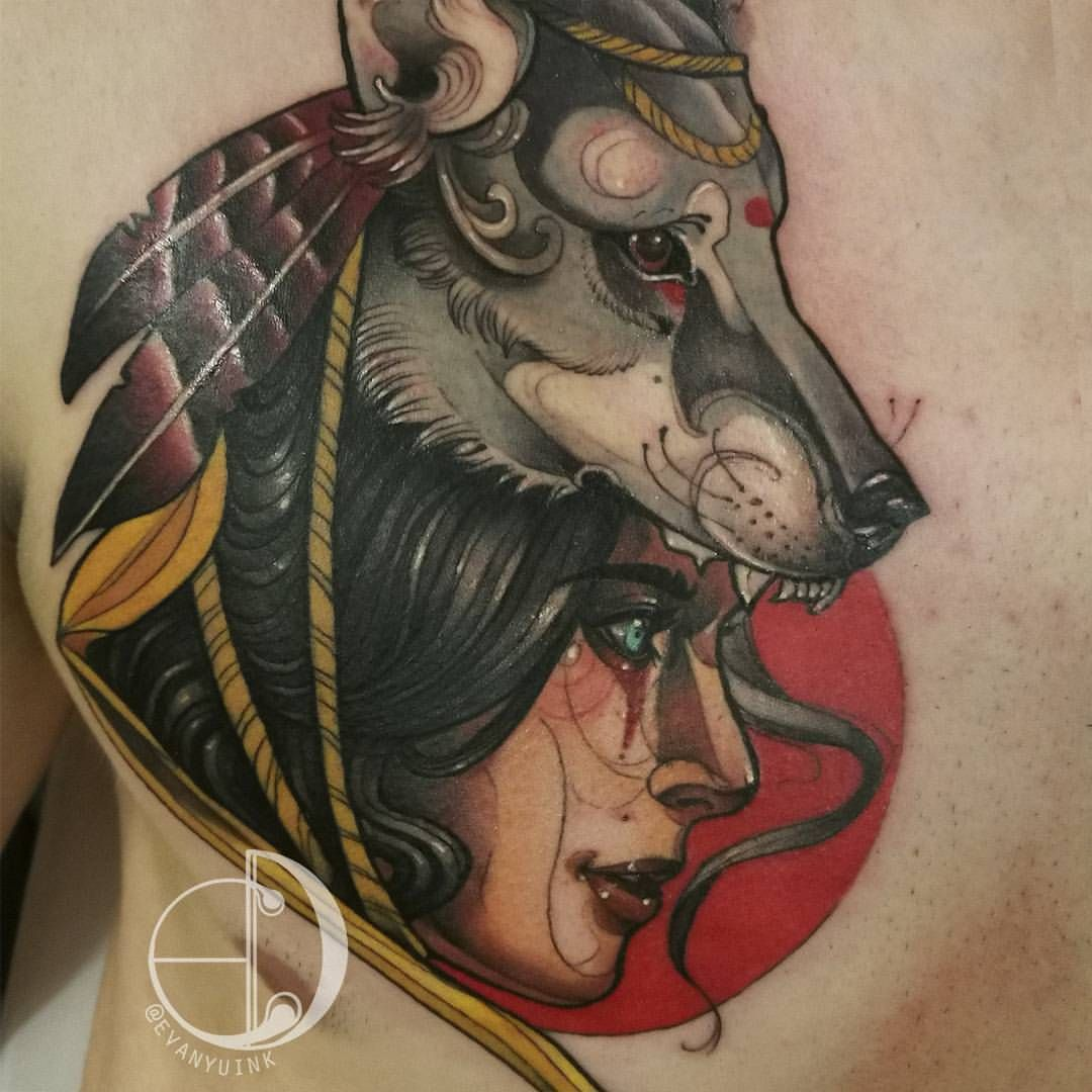 Lady Wolf Ink Tattoos Neotrad Colourtattoo Lady Wolf Headdress Art To Small Feminine Tattoos Wolf Tattoo Traditional Traditional Tattoo Woman Face