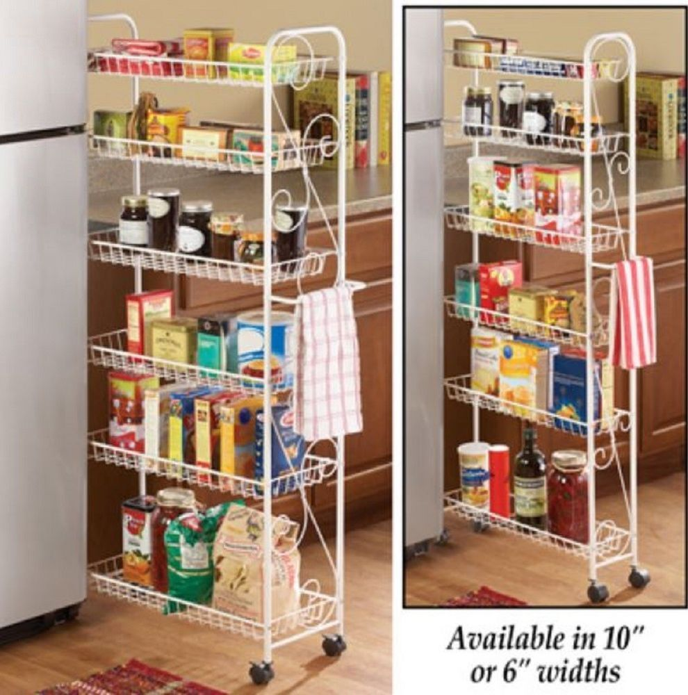 Rolling Pantry Cart 6 Shelf Kitchen Storage Rack Narrow Utility Shelving Tower Unbranded Rolling Pantry Kitchen Storage Rack Kitchen Organization Pantry