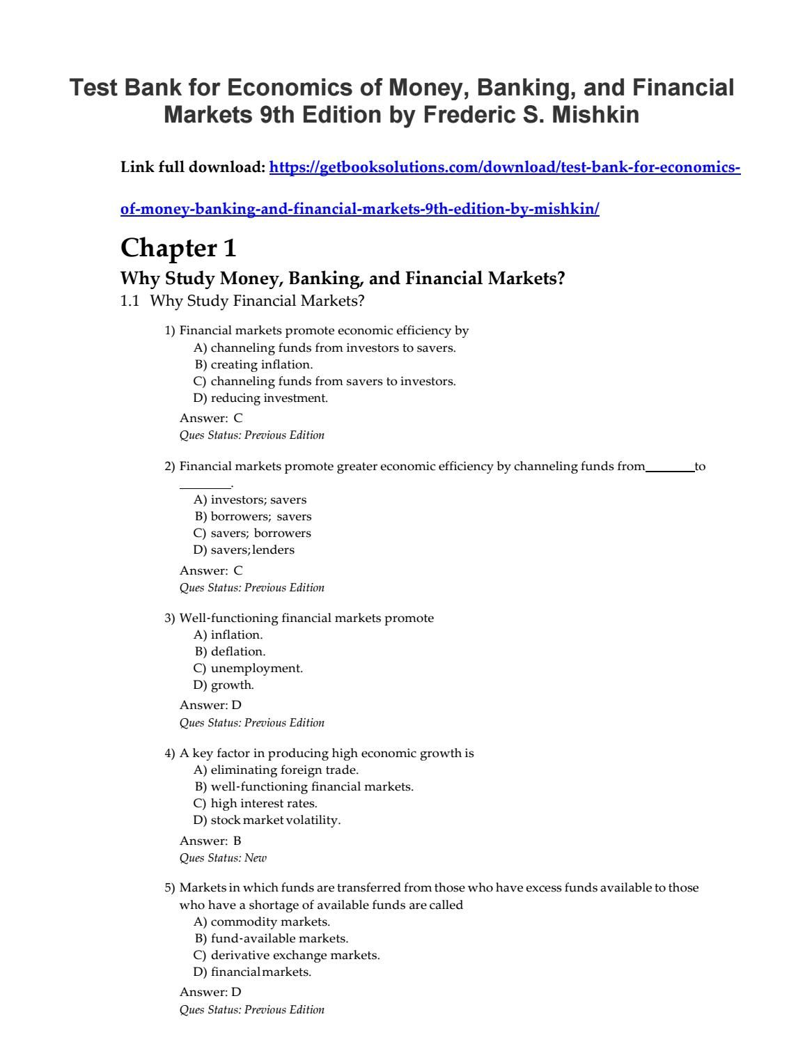 Test bank the economics of money banking financial markets 9th test bank the economics of money banking financial markets 9th edition mishkin fandeluxe Images