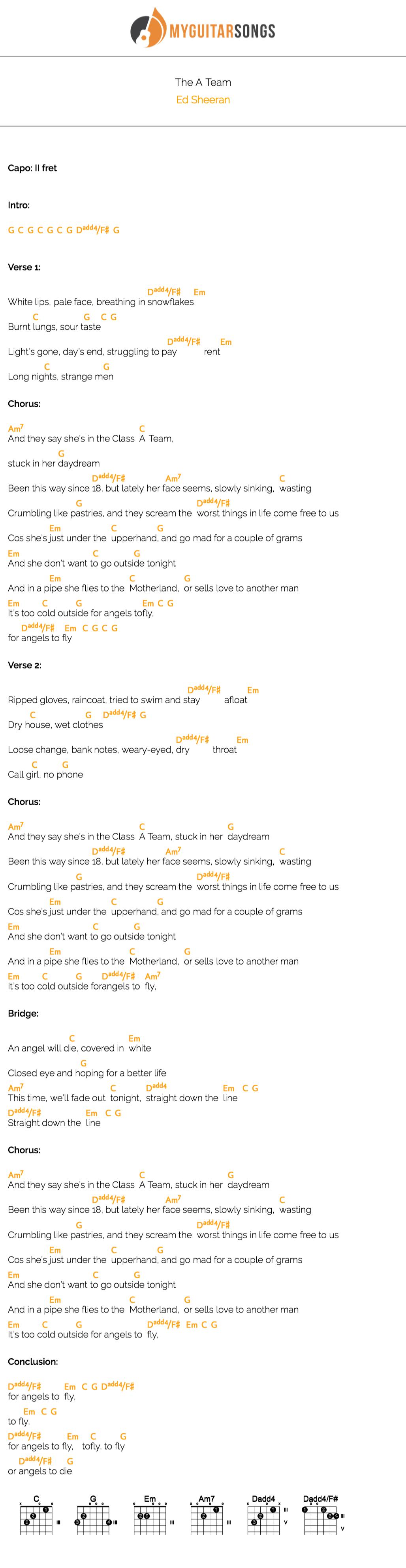 The A Team Chord : chord, Sheeran, Sheeran,, Team,, Ukulele, Music