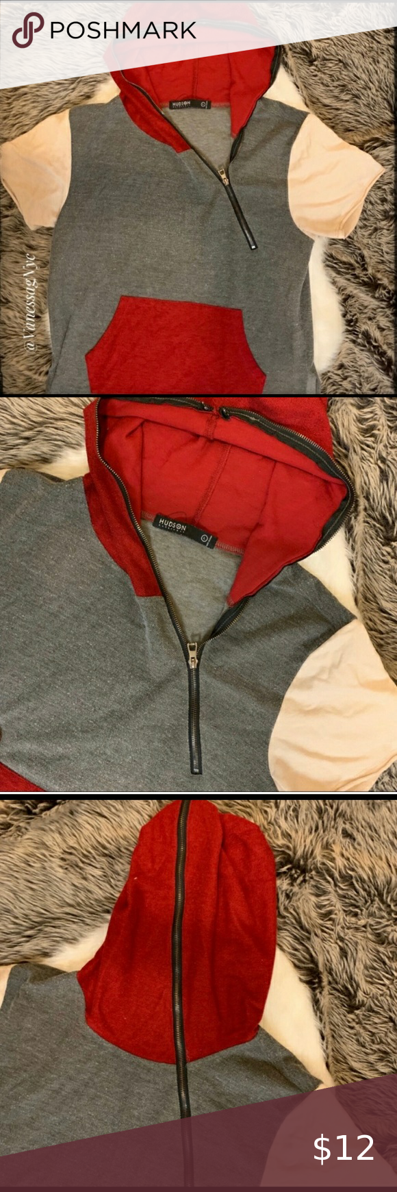 Hudson Outerwear T Shirt Hoodie Red Grey Large Red Hoodie Hoodie Shirt Outerwear [ 1740 x 580 Pixel ]