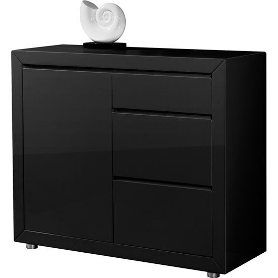 Features: • Fino Retro Style Sideboard in Black High Gloss ...