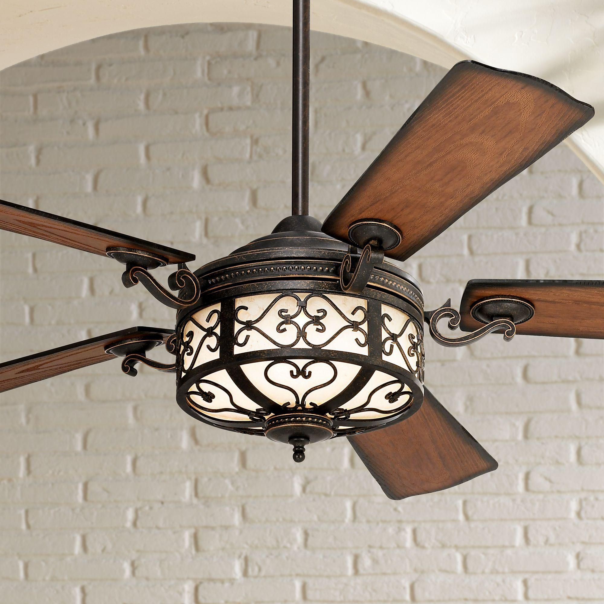 54 Inch Hermitage Led Golden Forged Outdoor Ceiling Fan Ceiling Fan Unique Ceiling Fans Outdoor Ceiling Fans