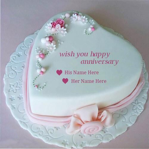 write name on beautiful pink heart anniversary wishes for facebook