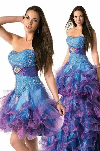 A quinceanera dress with blue and purple