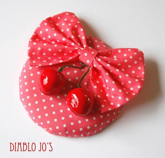Rockabilly Polka dot Fascinator with cherries, Pin Up, Retro hair Salmon Pink