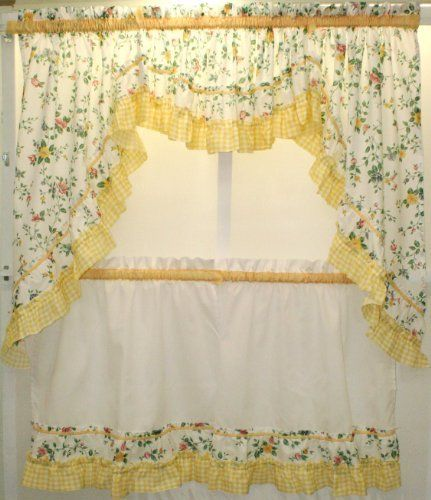 Dreams Floral And Gingham Swag Pair Yellow By The_Curtain