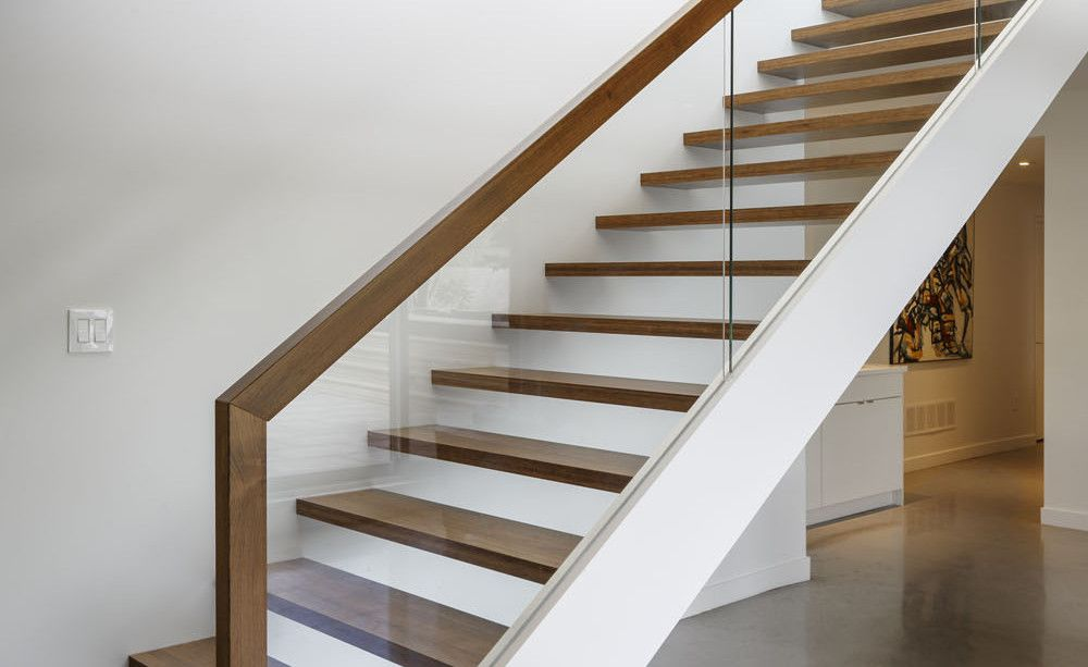 Modern Family Home With Canadian River Panoramas Modern | Wooden Stairs Railing Design With Glass