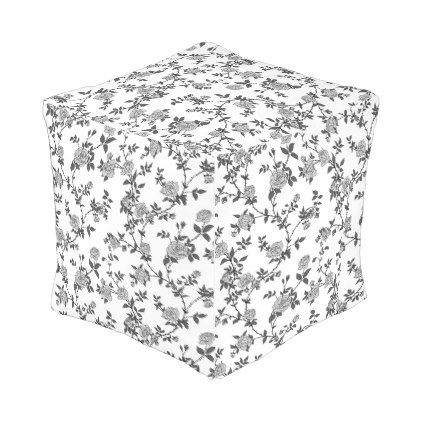 d0a5db5c9 Stylized black and white roses outdoor pouf - black and white gifts unique  special b w style