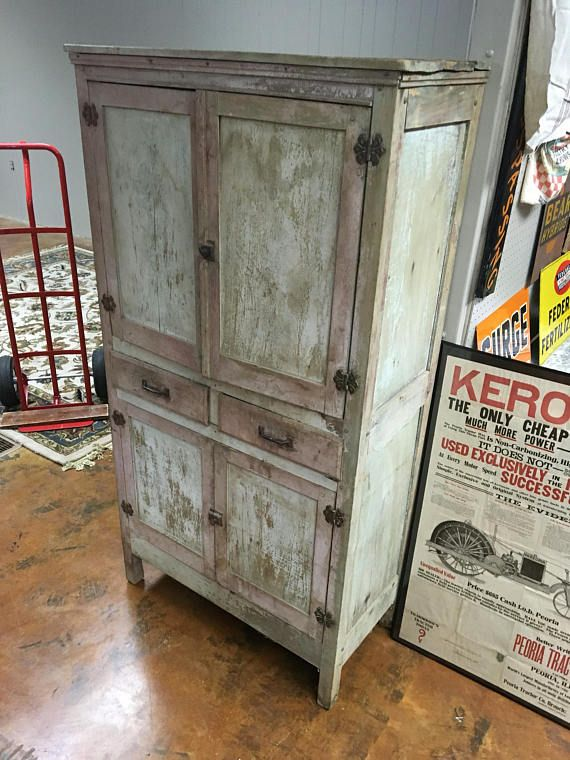 Very Primitive Kitchen Cupboard Cabinet Old Red Paint ...