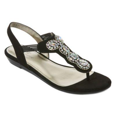 12892b0850e46 Worthington Odette Womens Flat Sandals - JCPenney Black Sandals