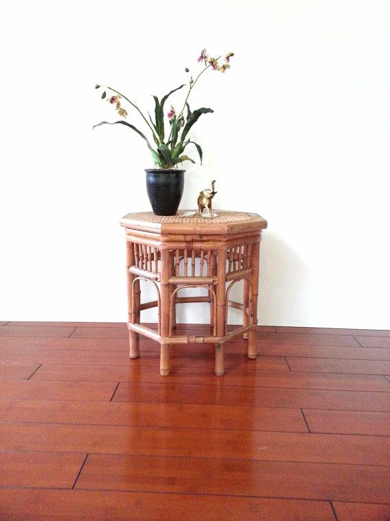 Bamboo / Rattan Side Table Octagon Accent Table By LUCKYHOMEFINDS
