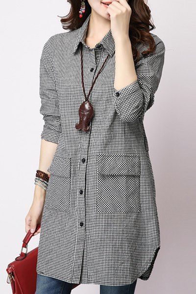 d4d2c77f19 Casual Long Sleeve Shirt Collar Plaid Loose-Fitting Women s Shirt ...