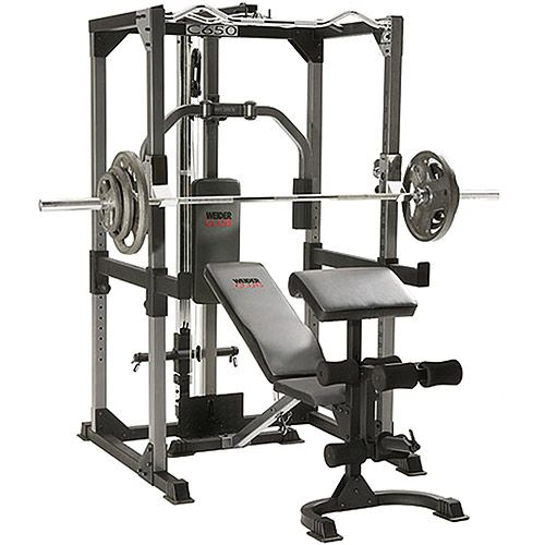 Weider Power Rack With Bench Preacher Curls Olympic Bar 200lbs Of Weight Chest Fly Lat Pull