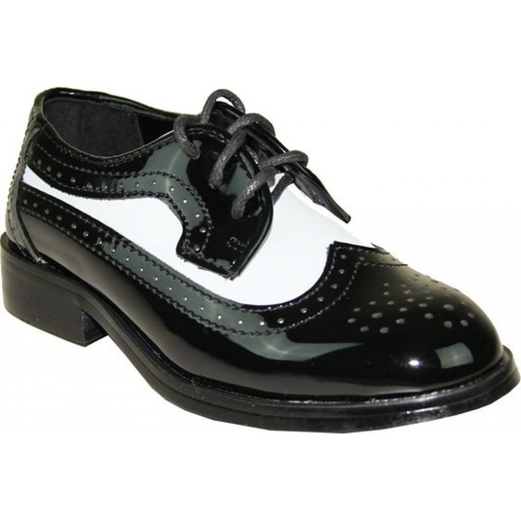 f7ee2ba4bd0b65 Boy s Formal Two-Tone Wing Tip Black and White Tuxedo Shoes