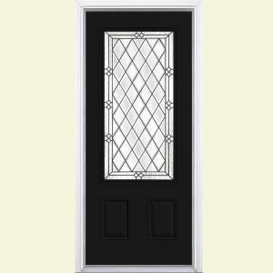 Masonite 36 In X 80 In Pergola Jet Black 3 4 Lite Painted Smooth Fiberglass Prehung Front Door With Bric Fiberglass Entry Doors Steel Entry Doors Entry Doors