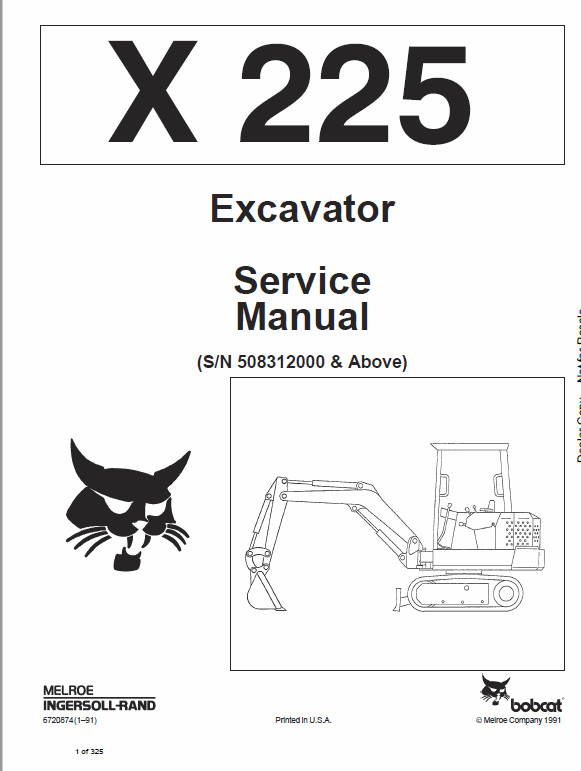 Bobcat X225 Excavator Service Manual Repair Manuals Hydraulic Excavator Excavator