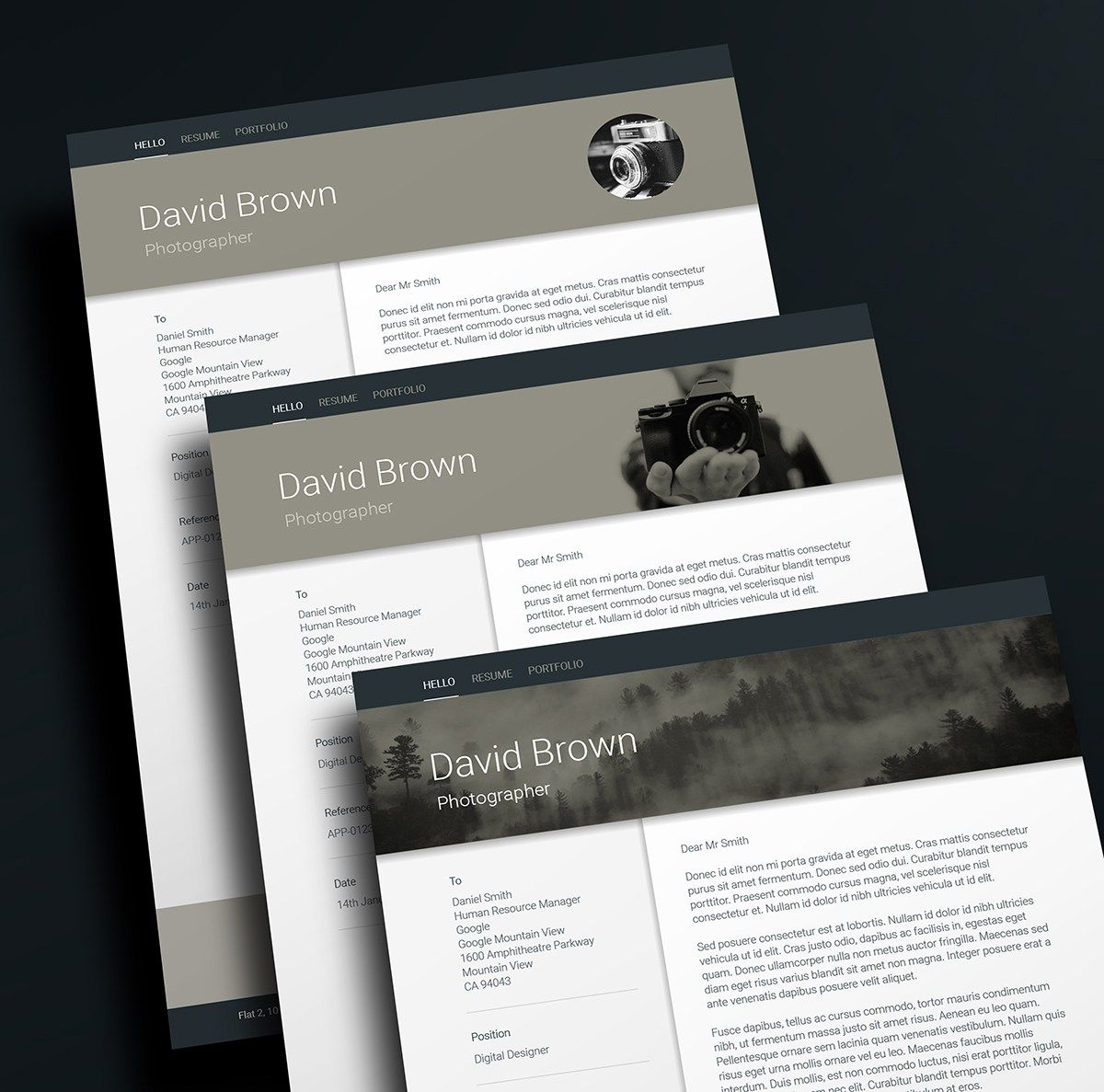 Header Design Material Resume Template By Ikono Me Creative