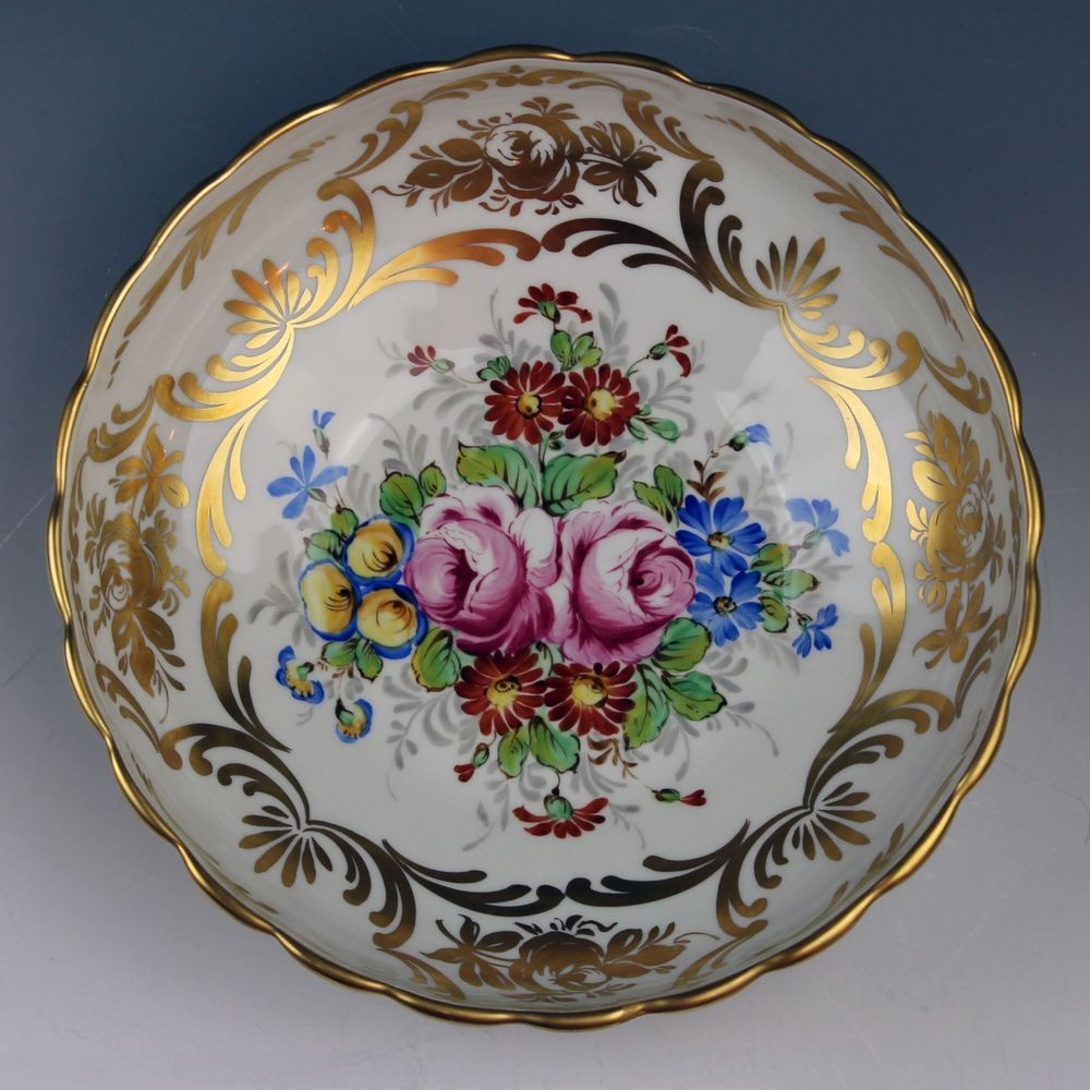 INCREDIBLE Hand Painted PARIS PILLIVUYT French Porcelain Gold Flowers Large Bowl & INCREDIBLE Hand Painted PARIS PILLIVUYT French Porcelain Gold ...