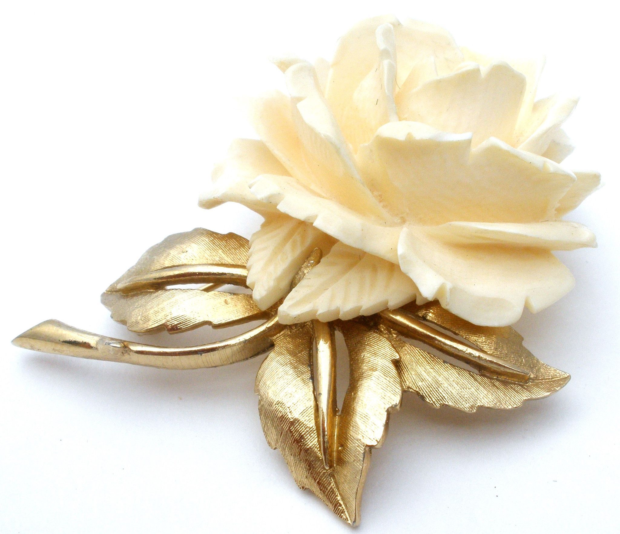 Boucher Black Flower Rose Pin Brooch Signed Numbered: Designer Signed Flower Jewelry Brooches