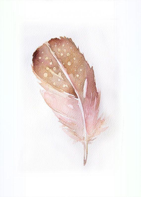 Großartige Tuschfeder Aquarell-Urschrift Kunst-Tuschfeder in Prunus persica und Gold 7,5 / In…