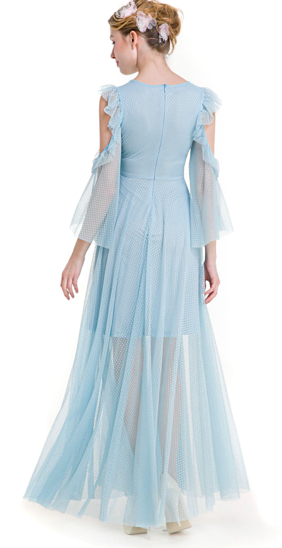Cold Shoulder Keyhole Maxi Illusion Dress | Snow wedding themes ...