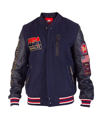 NIKE Team USA Wool and leather basketball jacket Long leather sleeves Wool  body Embroidered USA BASKETBALL