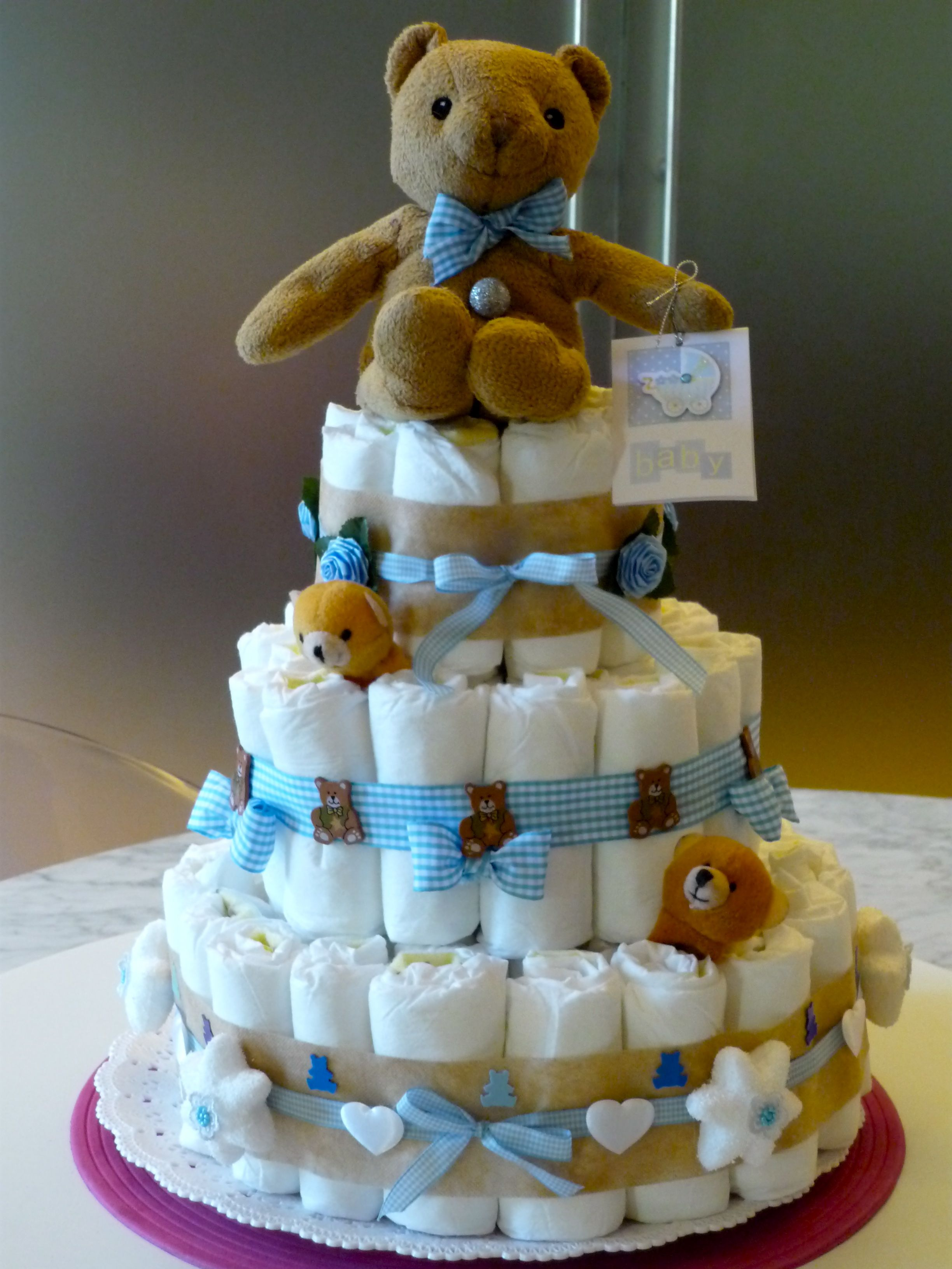 Teddy Diaper Cakecute For A Baby Shower