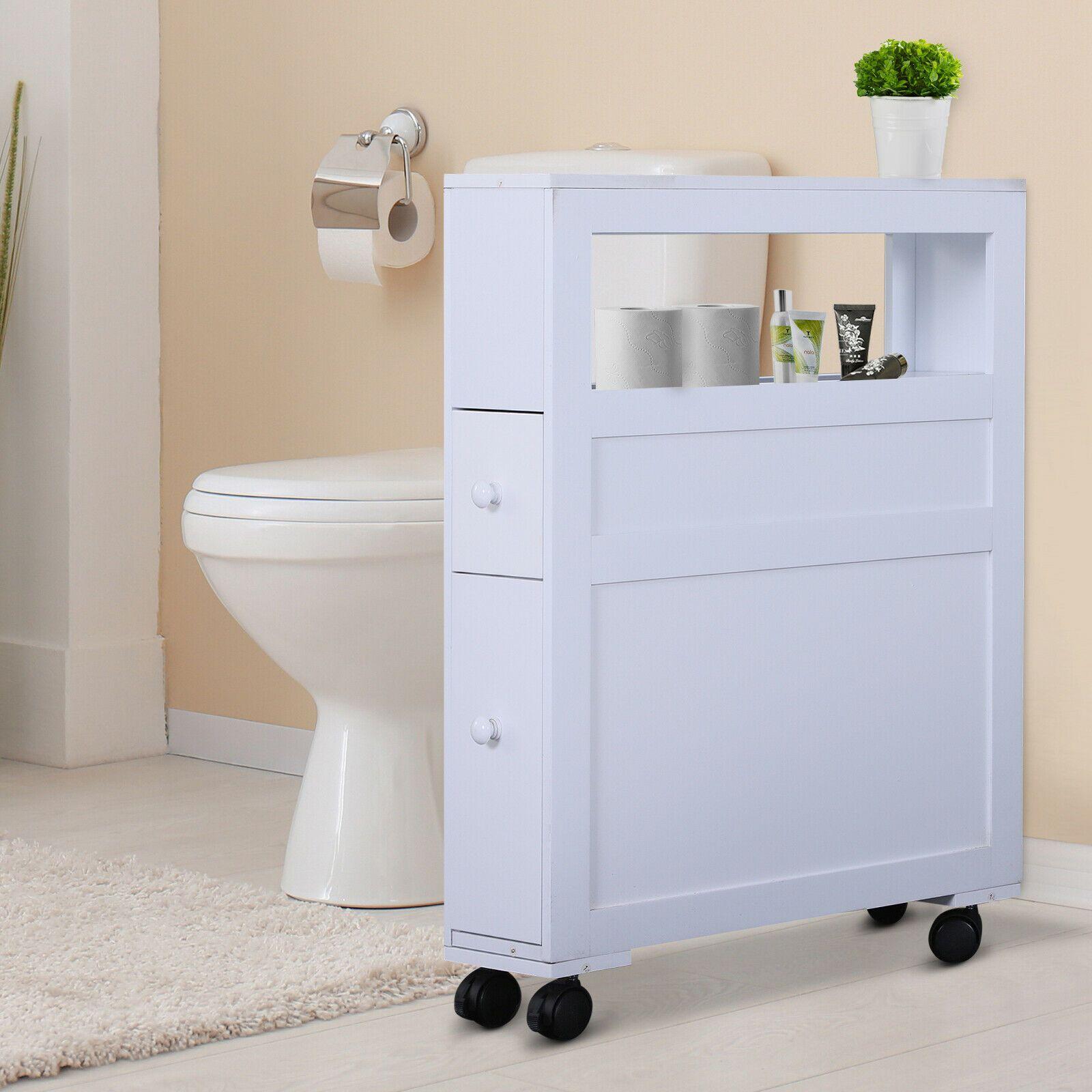 Wood Rolling Slim Narrow Bathroom Floor Side Storage Cabinet White 842525132503 Ebay In 2020 Bathroom Floor Storage Cabinet Bathroom Floor Cabinets Small Bathroom Storage Cabinet