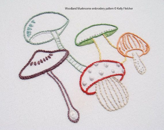 Woodland Mushrooms Hand Embroidery Pattern Modern Embroidery