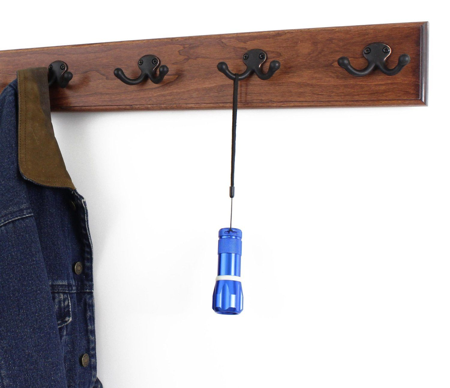 Solid Cherry Wall Mounted Coat Rack with Oil Rubbed Bronze Wall Coat Hooks Made In the USA