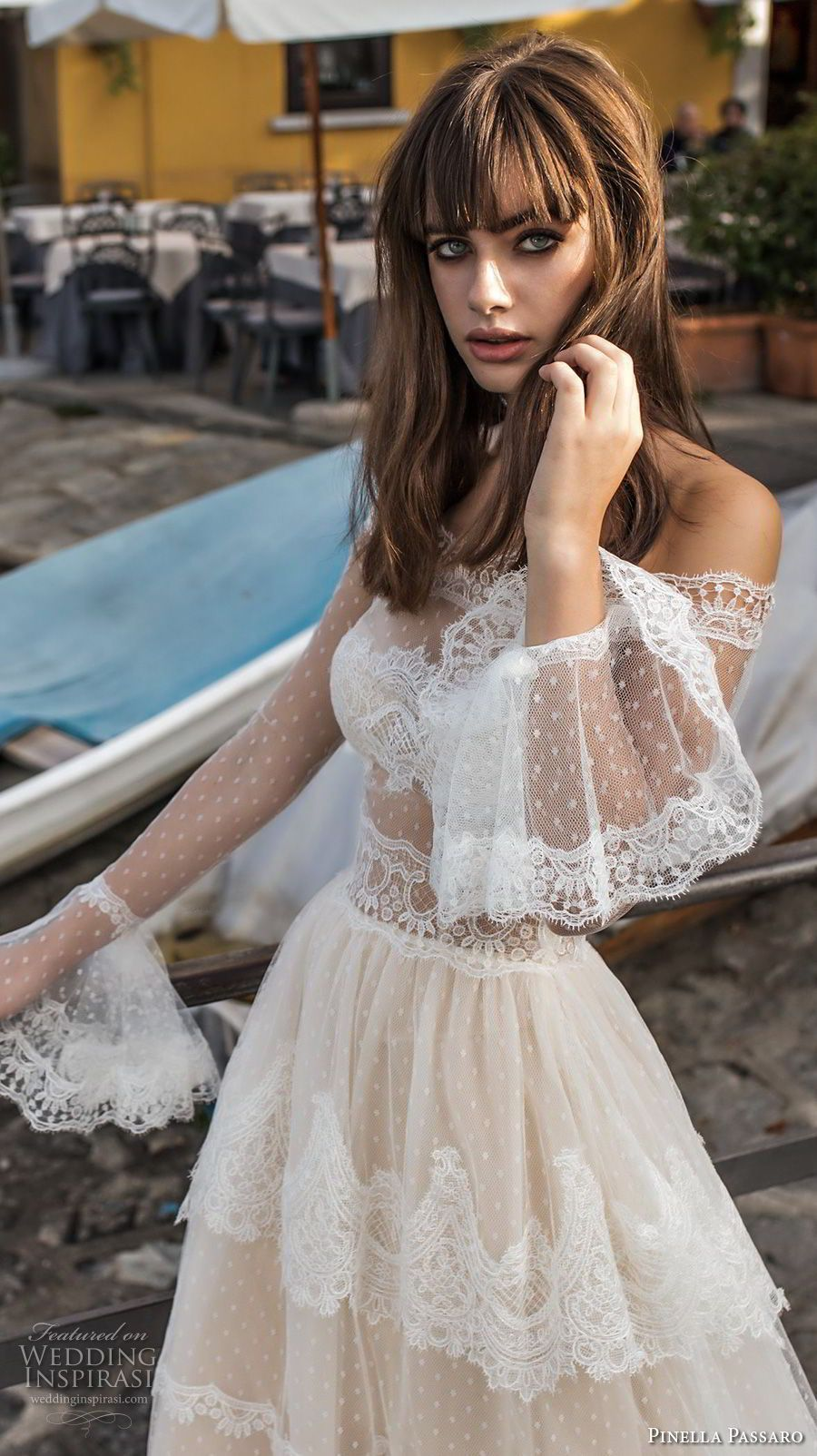 Wedding dresses with lace sleeves off the shoulder  pinella passaro  bridal off the shoulder long poet sleeves