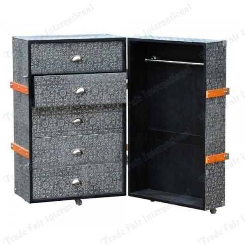 Blackened Silver Embossed Metal Chest Of Drawers / Luggage Trunk  Style,R1 9373