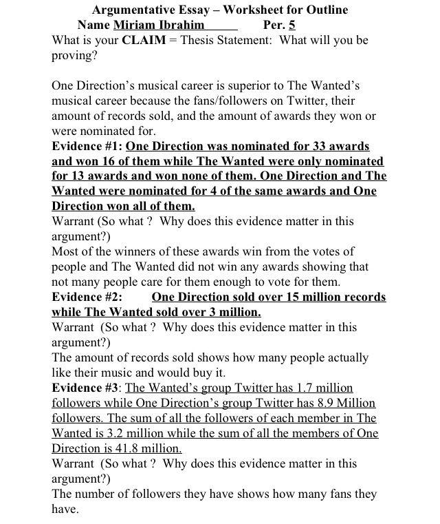 Behold! The outline for my English argumentative essay!! Finally - argumentative essay