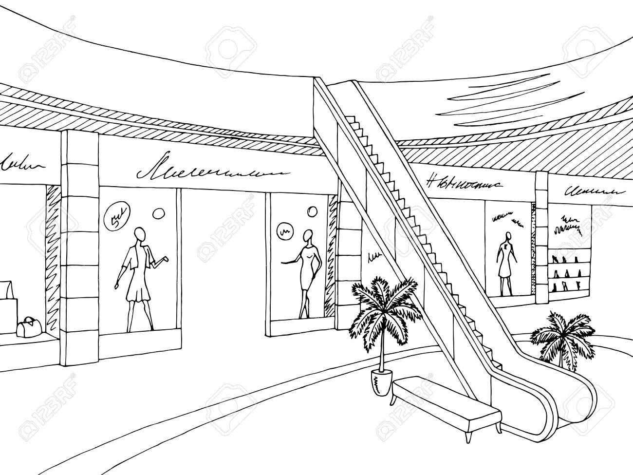 Stock Vector With Images Interior Sketch Shopping Mall