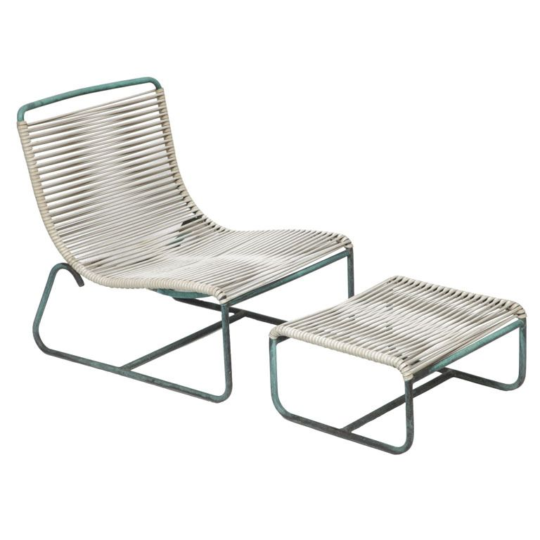 Walter Lamb Outdoor/Patio Sled Chairs With Ottoman For Brown Jordan