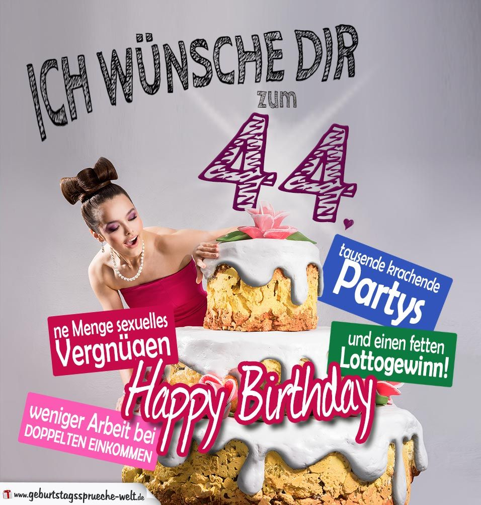 44 geburtstag sprüche Glückwünsche Geburtstagskarte 44. Geburtstag mit Torte  44 geburtstag sprüche