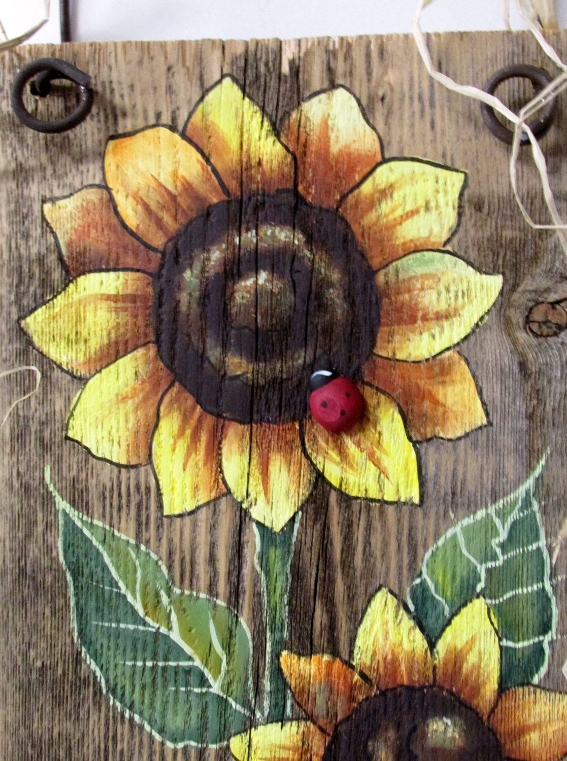 Sunflowers Yellow, Tole Painted on Reclaimed Barn Wood, Summer Time Flowers, Reclaimed Wood, Three Yellow Sunflowers and Red Lady Bug #tolepainting