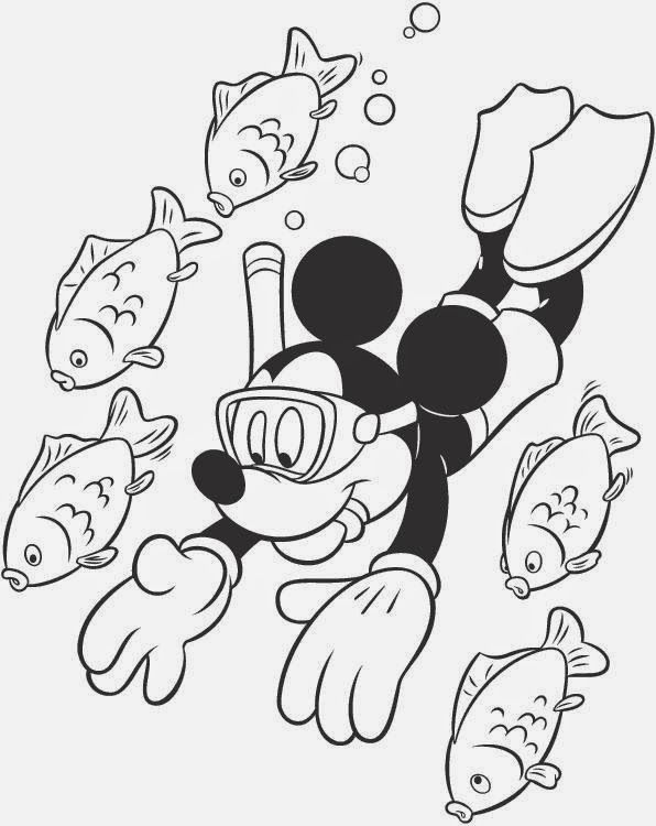 Mickey snorkle Disney coloring pages, Coloring books