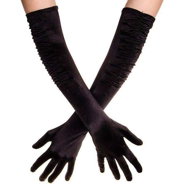 Blue Banana Long Rouched Satin Gloves (Black) ($11) ❤ liked on Polyvore featuring accessories, gloves, long satin gloves, blue gloves, black gloves, long gloves and black satin gloves