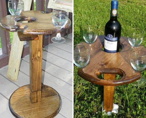 Indoor outdoor folding wine glass table with bottle holder for Table exterieur alu verre