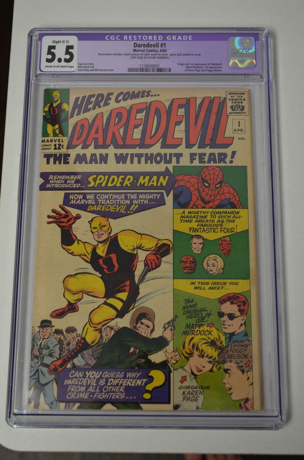 Daredevil 1 Cgc 55 Slight April 1964 Marvel New Case 1st