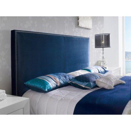 tete de lit anapu en velours bleu marine pour lit queen size