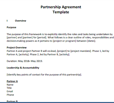 one page partnership agreement sample completed