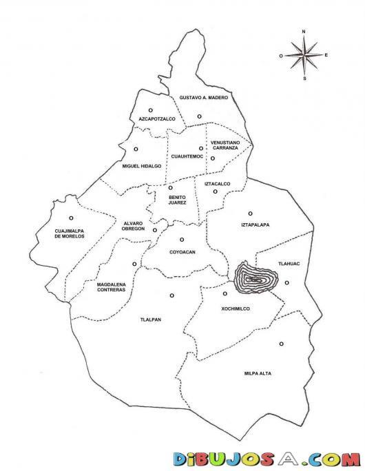 Dibujo Del Mapa Del Distrito Federal De Mexico Para Imprimir Pintar ...