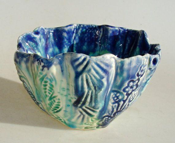 Turquoise Decorative Bowl Decorative Textured Ceramic Bowlclayshapes  Ceramics