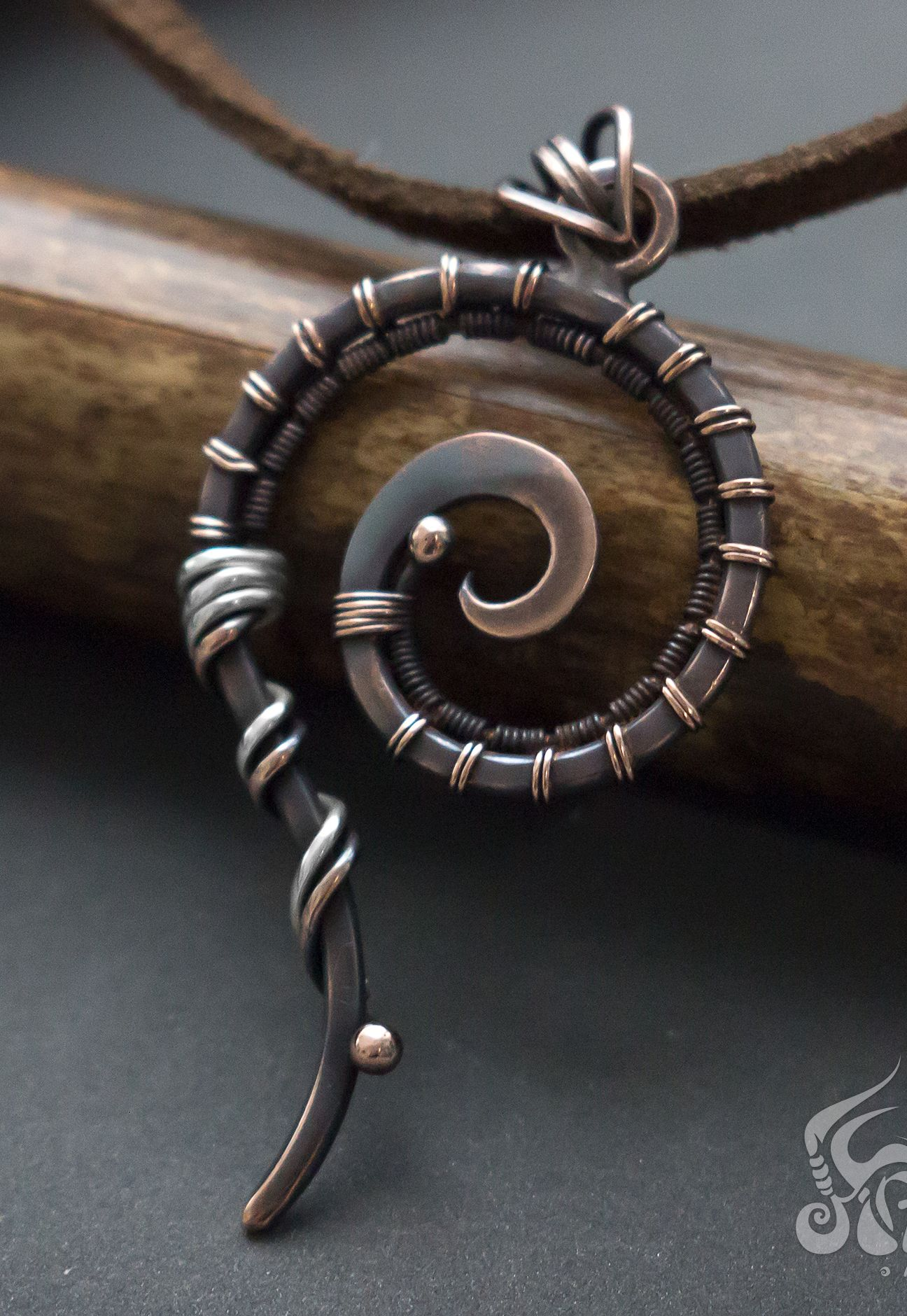 Photo of Minimalist wire pendant. Simple spiral copper wire wrapped necklace, Swirl Mixed metal pendant