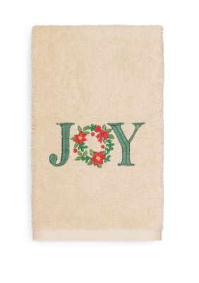 Linum Home Textiles Christmas Holly Bunch Embroidered Luxury 100% Turkish Cotton Hand Towels - Sand - Hand Towel #handtowels